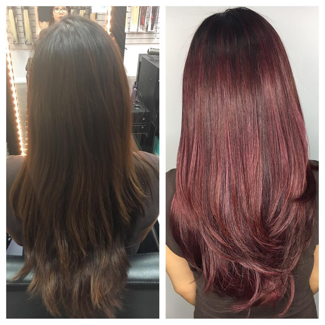 Halo Hair Extensions Rose Burgundy Balayage Ombr 233